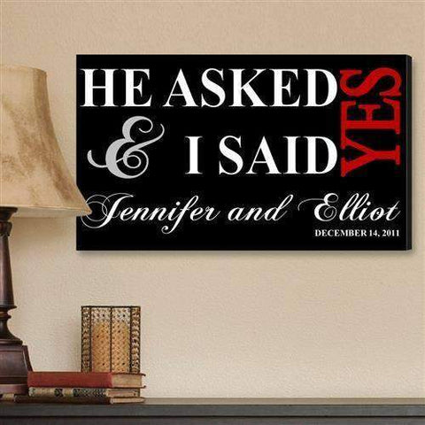 Couple Canvas Sign - He Asked-decorative plaques-LTM Endeavors Gifts