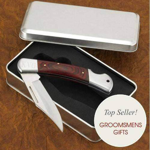 Engraved Hard-Wood Handle Locking Pocket Knife-groomsman-LTM Endeavors Gifts