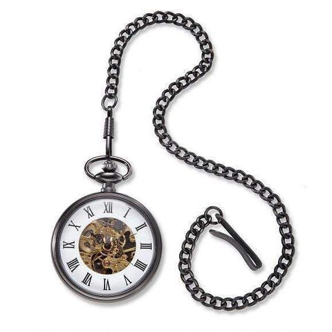 Exposed Gears Gunmetal Pocket Watch-watch-LTM Endeavors Gifts