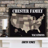 Family Travel Map Canvas Sign - 4 Designs-Home Decor-LTM Endeavors Gifts