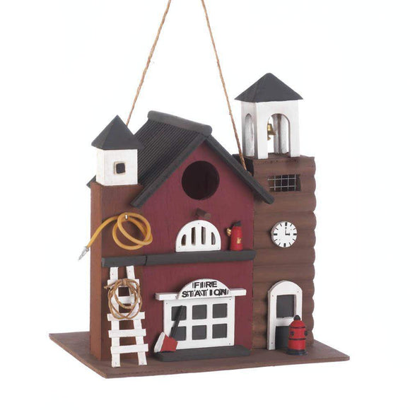 Fire Station Birdhouse-Bird Houses-LTM Endeavors Gifts