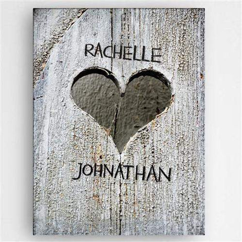 Hand Carved Heart Canvas Sign-Her-LTM Endeavors Gifts