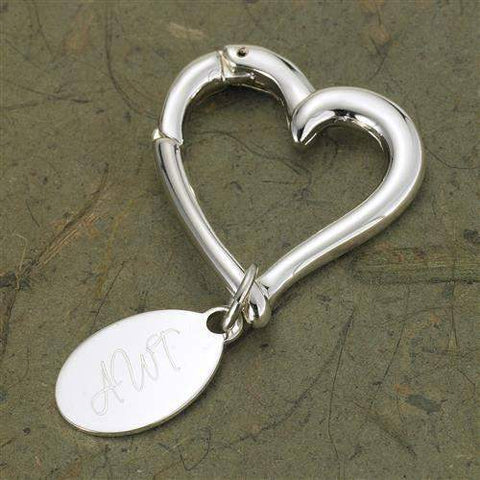 Heart Keychain with Oval Tag-Her-LTM Endeavors Gifts