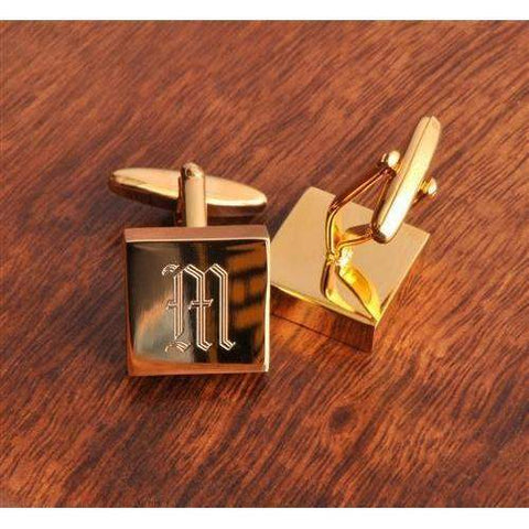 High Polish Brass Cufflinks - Monogrammed Brass Cufflinks-jewelry/ cuff links-LTM Endeavors Gifts