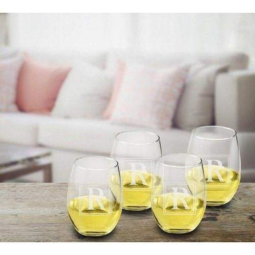 Initial Stemless Wine Glass Set-Beverage ware-LTM Endeavors Gifts