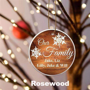 Our Family Ceramic Ornament - 3 Wood Designs-Home Decor-LTM Endeavors Gifts