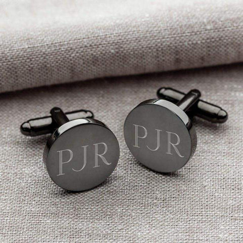 Personalized Gunmetal Round Cuff links-jelewery-LTM Endeavors Gifts