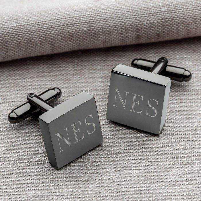 personalized gunmetal square cufflinks ltm endeavors gifts