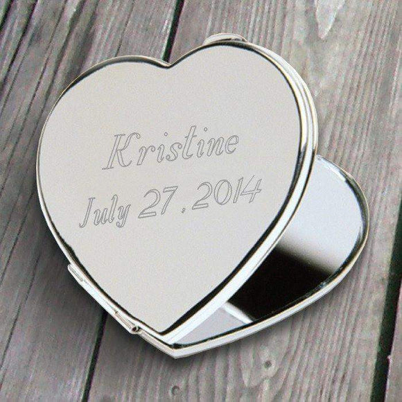 Personalized Heart Compact Mirror-Her-LTM Endeavors Gifts