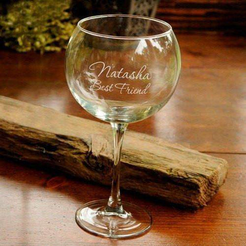 Personalized Red Wine Glass-etched glass-LTM Endeavors Gifts