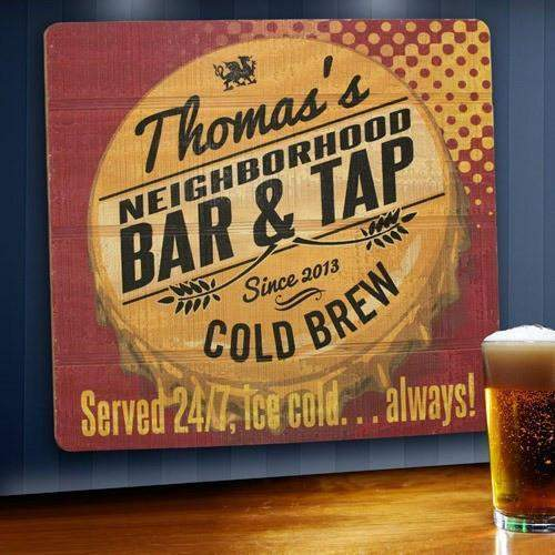 Personalized Wood Tavern and Bar Sign - Served 24/7-Home Decor-LTM Endeavors Gifts