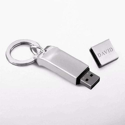 Silver Plated Key Chain with 2GB USB Drive-office-LTM Endeavors Gifts