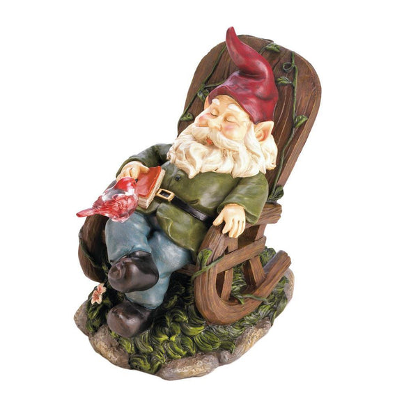 Solar Red Bird Rocking Chair Gnome-LTM Endeavors Gifts