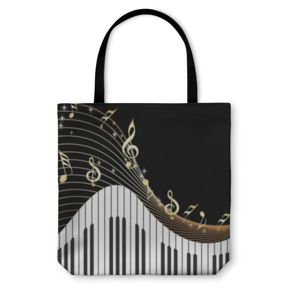 Tote Bag, Music Notes Piano-Tote Bag-LTM Endeavors Gifts