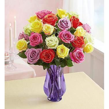 Two Dozen Assorted Roses with Purple Vase-Flowers-LTM Endeavors Gifts
