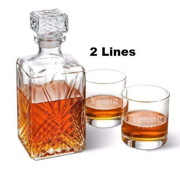 Whiskey Decanter with two Personalized Glasses-Beverage ware-LTM Endeavors Gifts