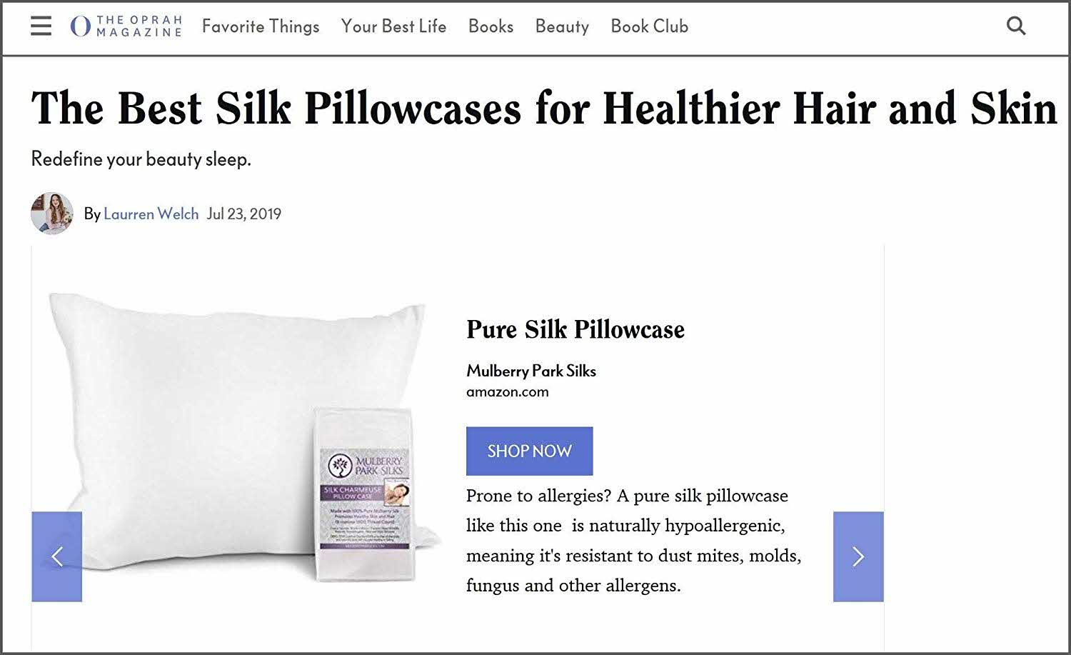 Oprah Magazine Names Mulberry Park Silks pillow case among the Best Silk Pillowcases for Healthier Hair and Skin