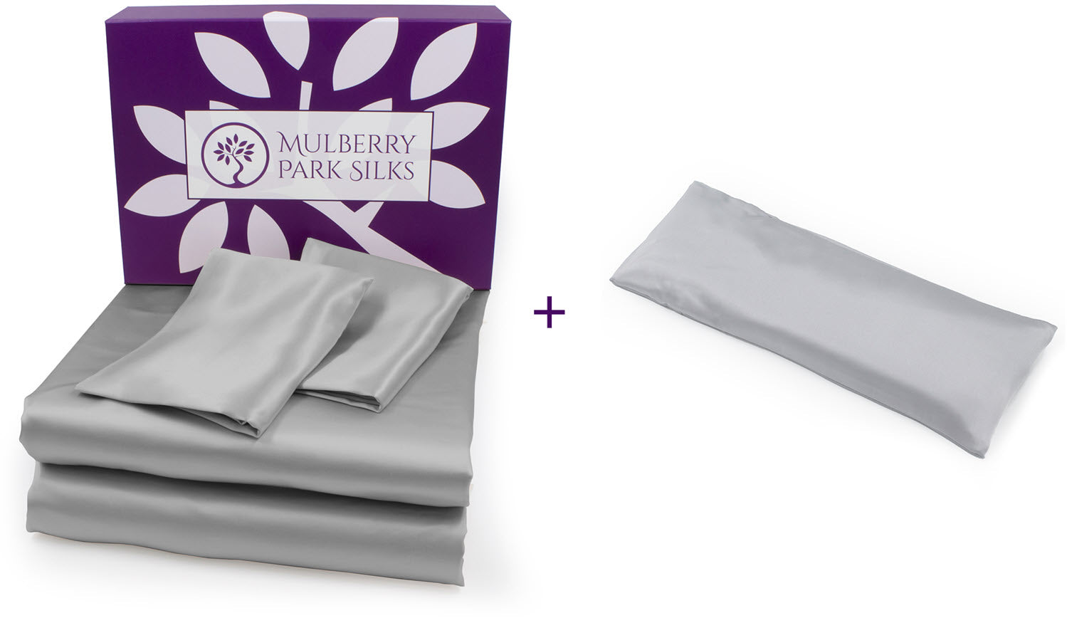 Mother's Day 22 momme sheet set with a Silk Aromatherapy Lavender Eye Pillow bundle