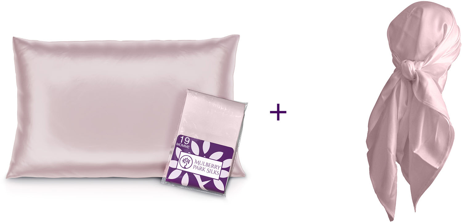 Mother's Day silk pillowcase and silk head scarf bundle