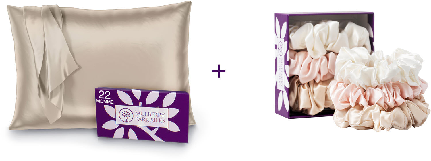Mother's Day silk pillowcase and silk scrunchie bundle