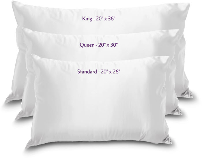 Pillow sizing guide to king, queen and standard sizes
