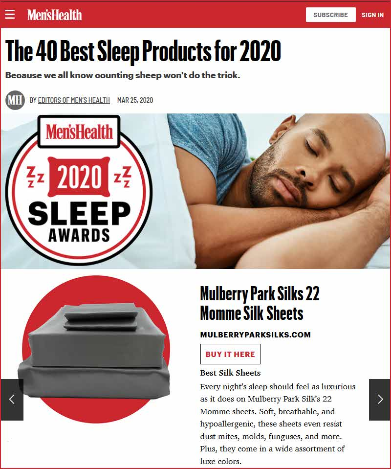 Mulberry Park Silks Wins Men's Health 2020 Sleep Award for Momme Silk Sheets