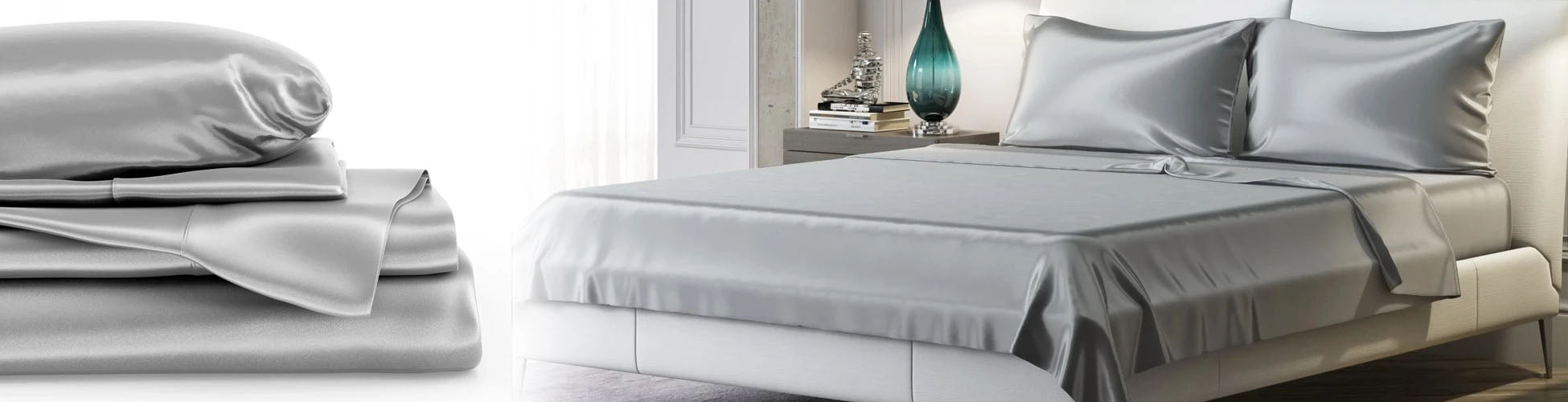 A stack of silk sheets and bed made with silver silver sheets