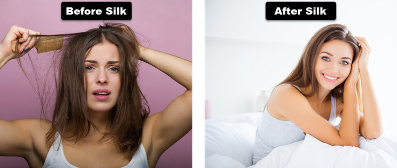 Before and after using a silk pillowcase