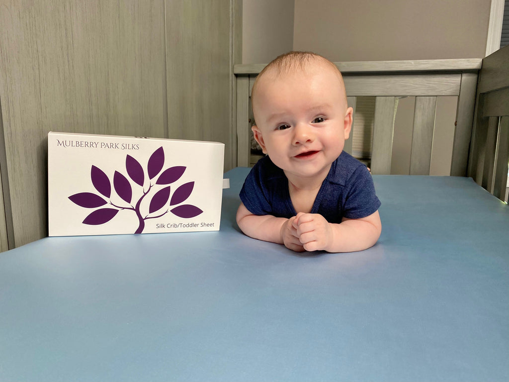 Mulberry Silk Crib Sheets for Babies & Toddlers - Ideal bedding for delicate skin and hair
