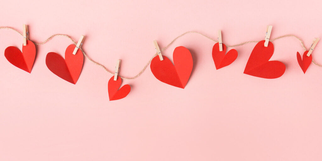 Valentine's Day 2020 red hearts on pink background