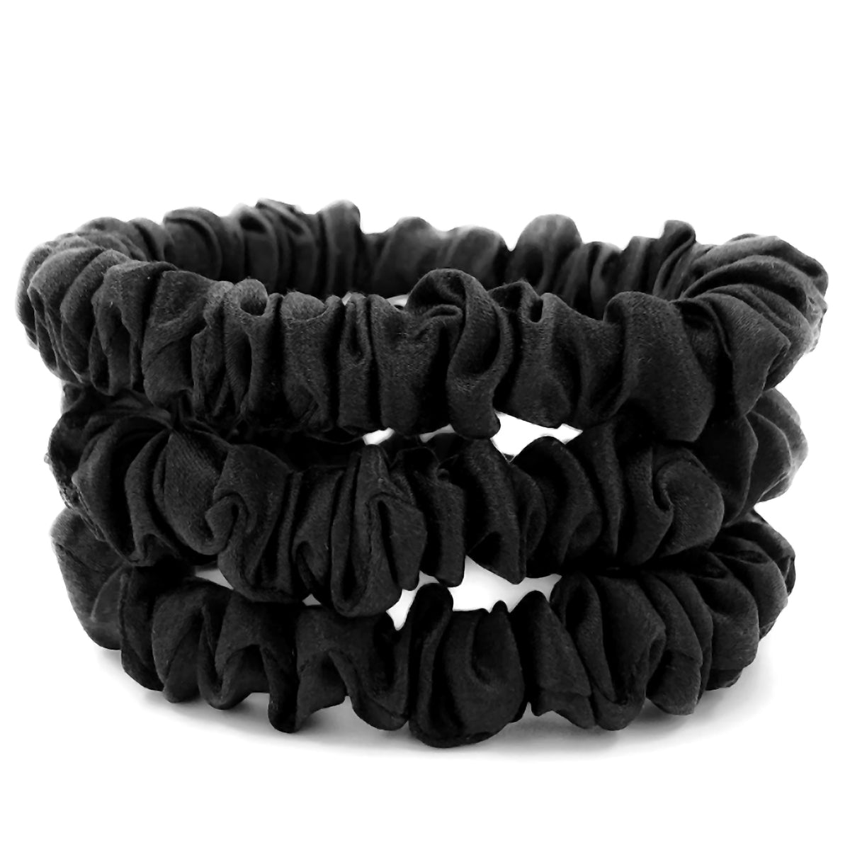 Small Midnight Black Silk Scrunchies
