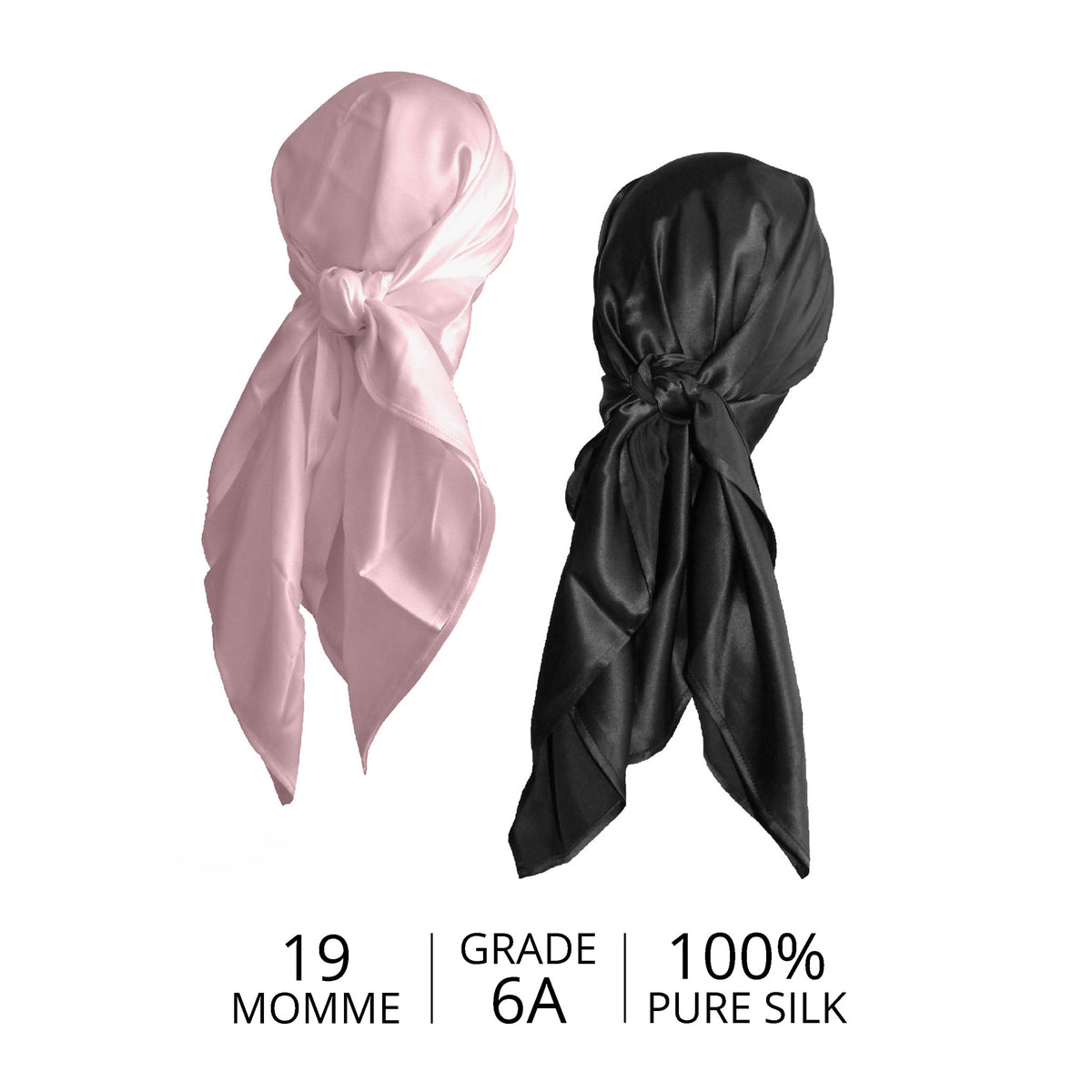 Pink and Black Silk Head Scarf with Details