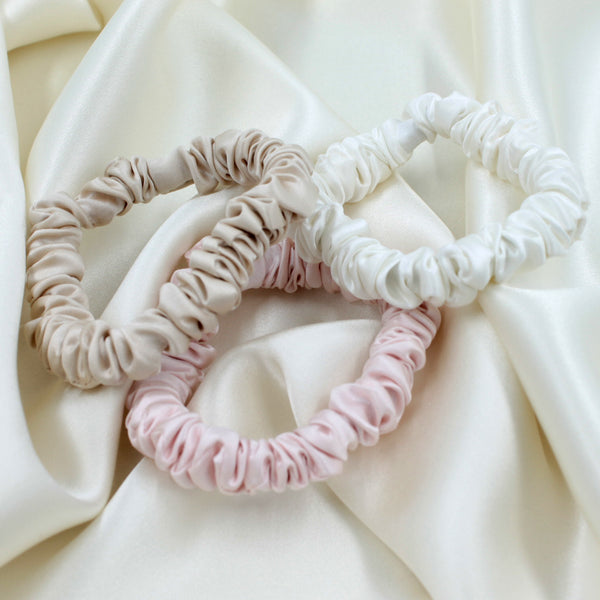 Charmeuse Silk Hair Scrunchies Ivory Pink Sand