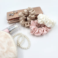Charmeuse Silk Hair Scrunchies - Ivory/Pink/Sand
