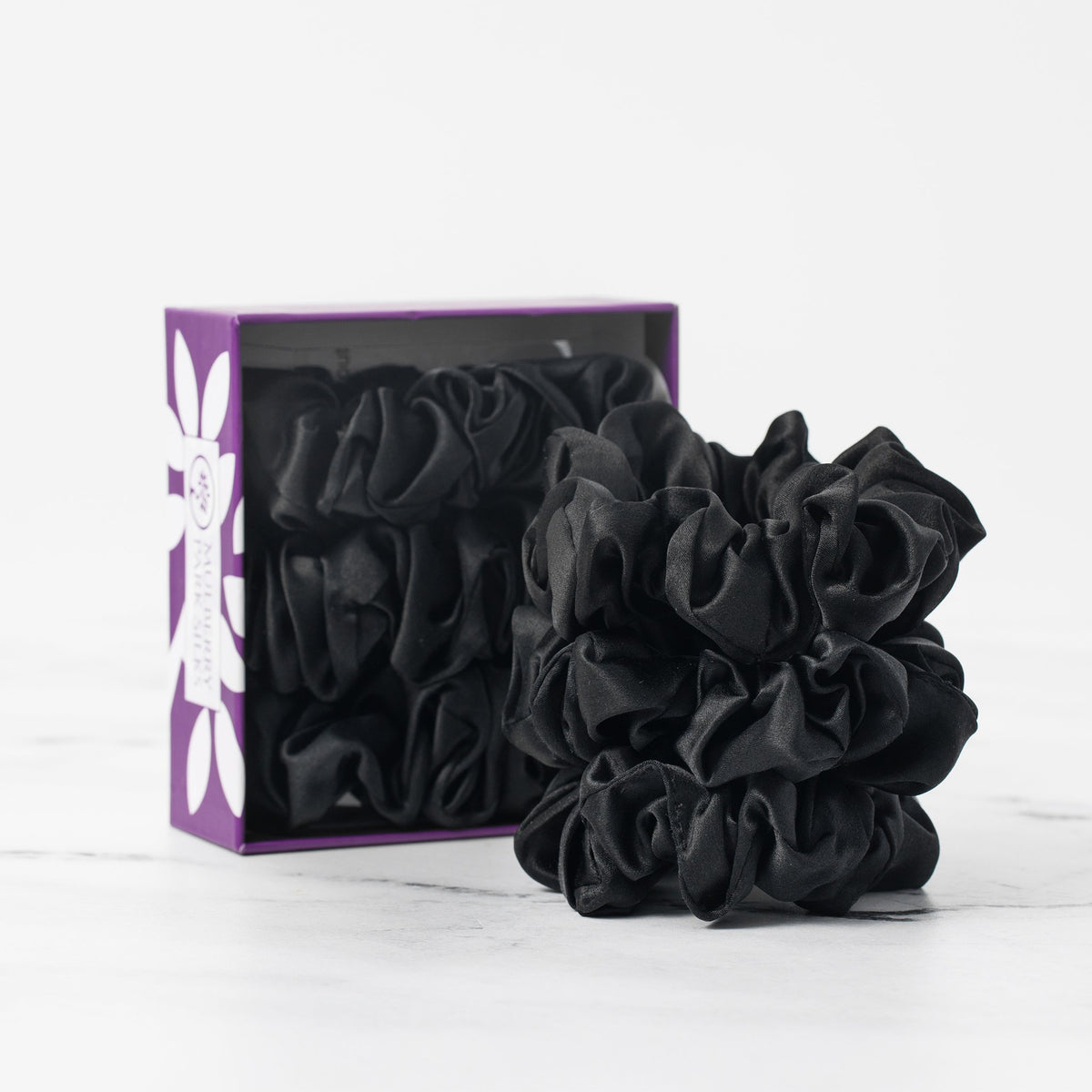 Silk Scrunchies - Midnight Black - Pure Mulberry Silk
