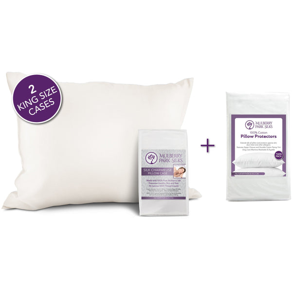 OUTLET FLASH SALE - 2 King Size Pure Silk Pillowcases + FREE 2 Pack Cotton Pillow Protectors