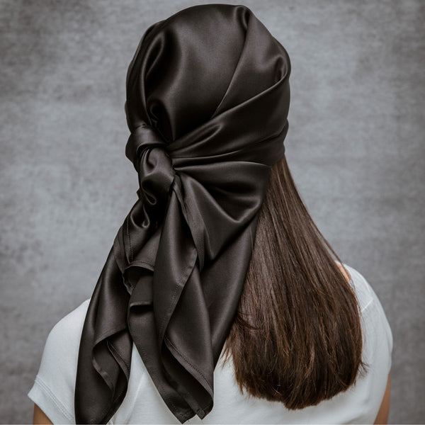 100% Pure Silk Charmeuse Head Scarf Bandana - Black