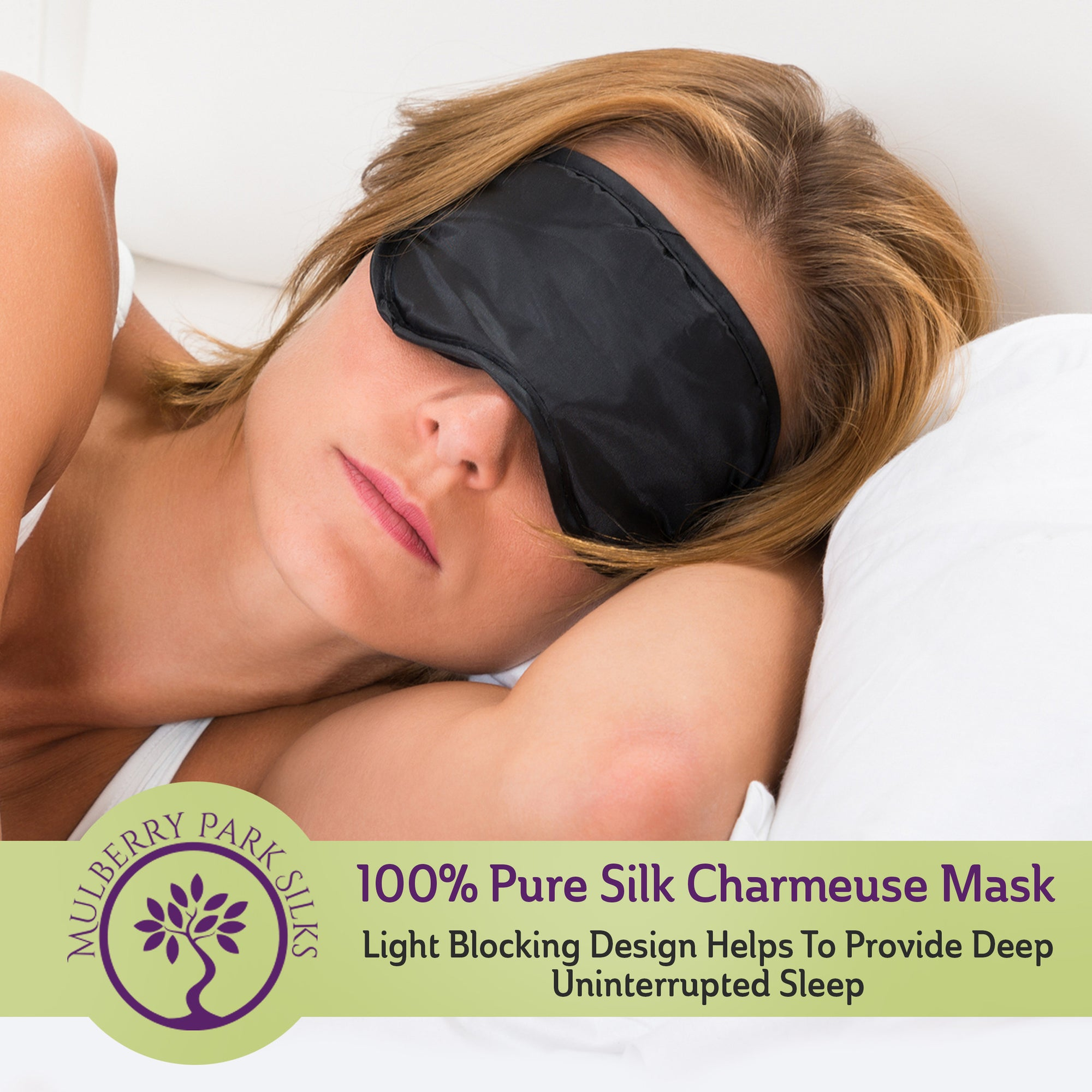 100% Pure Silk Charmeuse Black Eye Mask