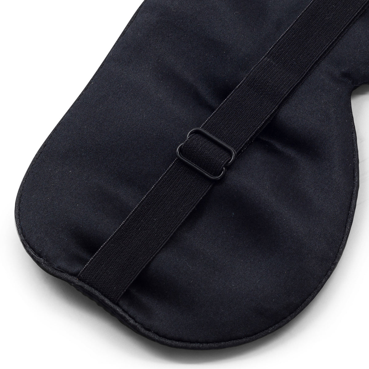 100% Pure Mulberry Silk Black Eye Mask with an Adjustable Strap