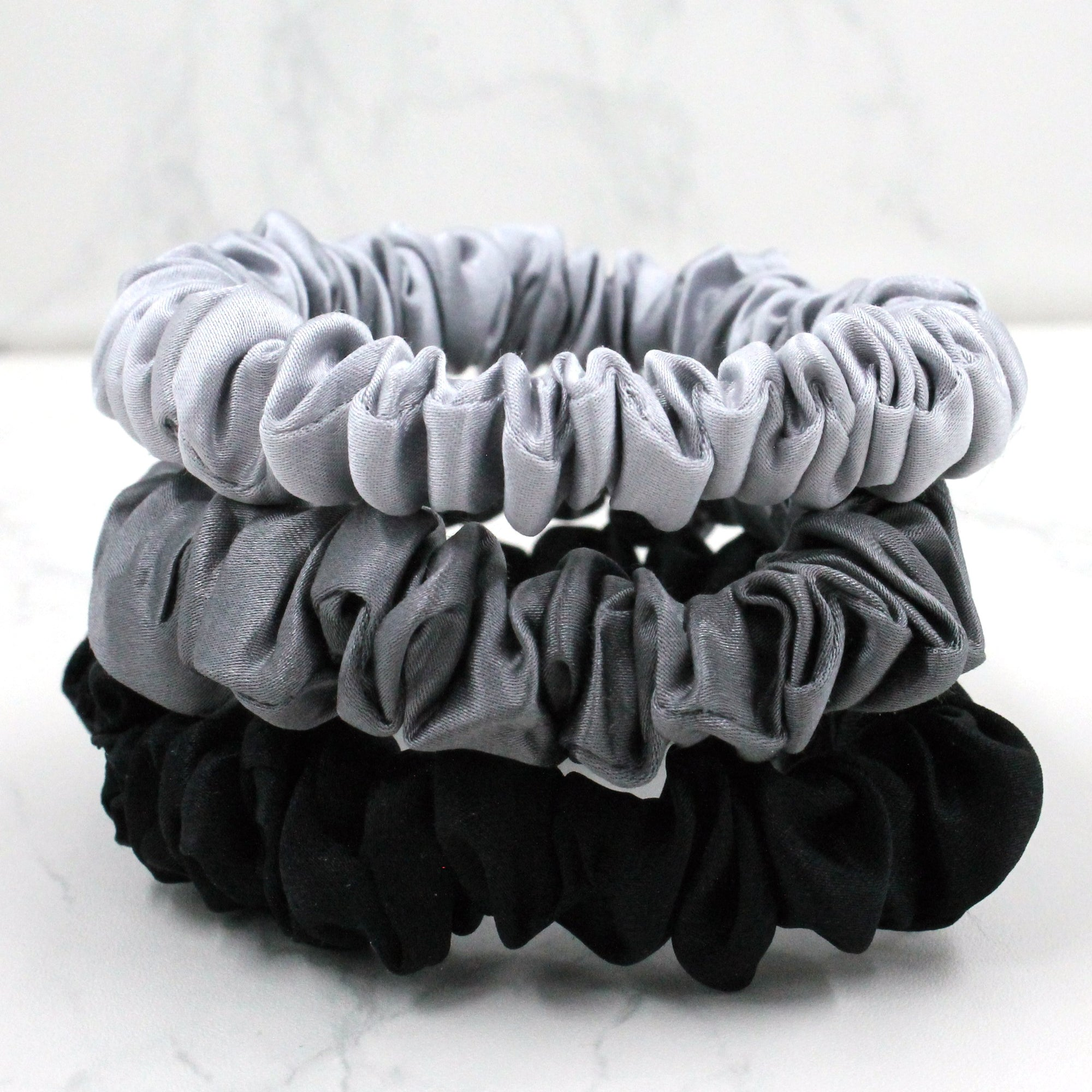 Silk Scrunchies - Midnight Black, Shimmery Silver, and Gunmetal Grey - Pure Mulberry Silk