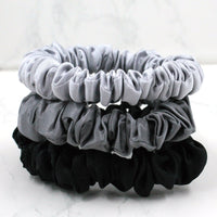 Charmeuse Silk Hair Scrunchies - Black/Silver/Gunmetal