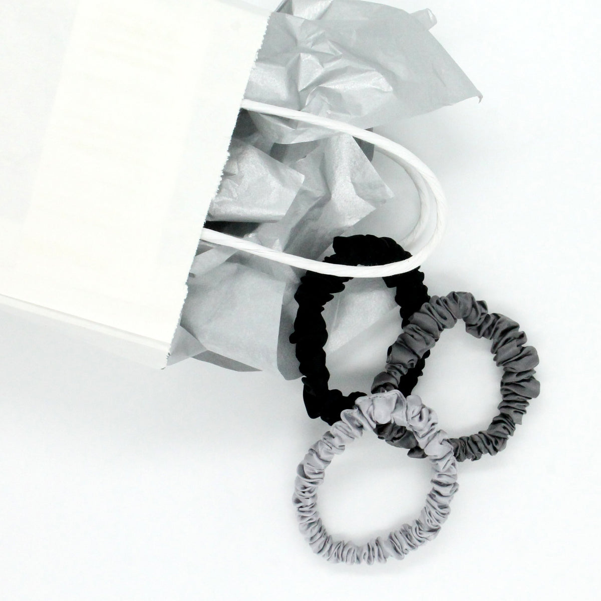 Silk Scrunchies - Midnight Black, Shimmery Silver, and Gunmetal Grey