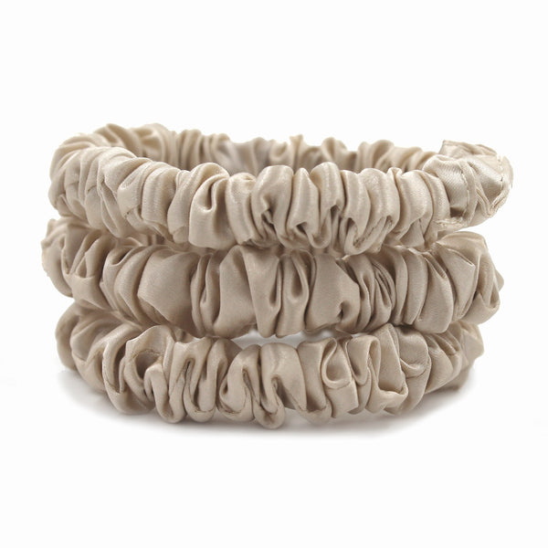Charmeuse Silk Hair Scrunchies - Sand