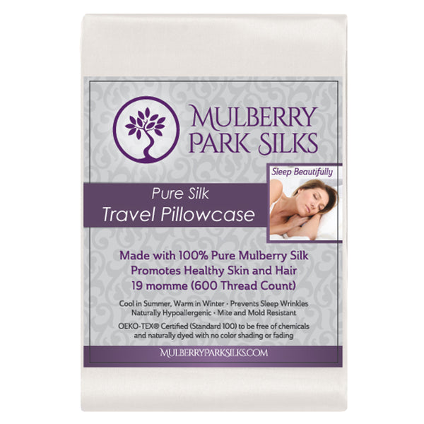 Pure Silk Travel Pillowcase Ivory Mulberry Park Silks
