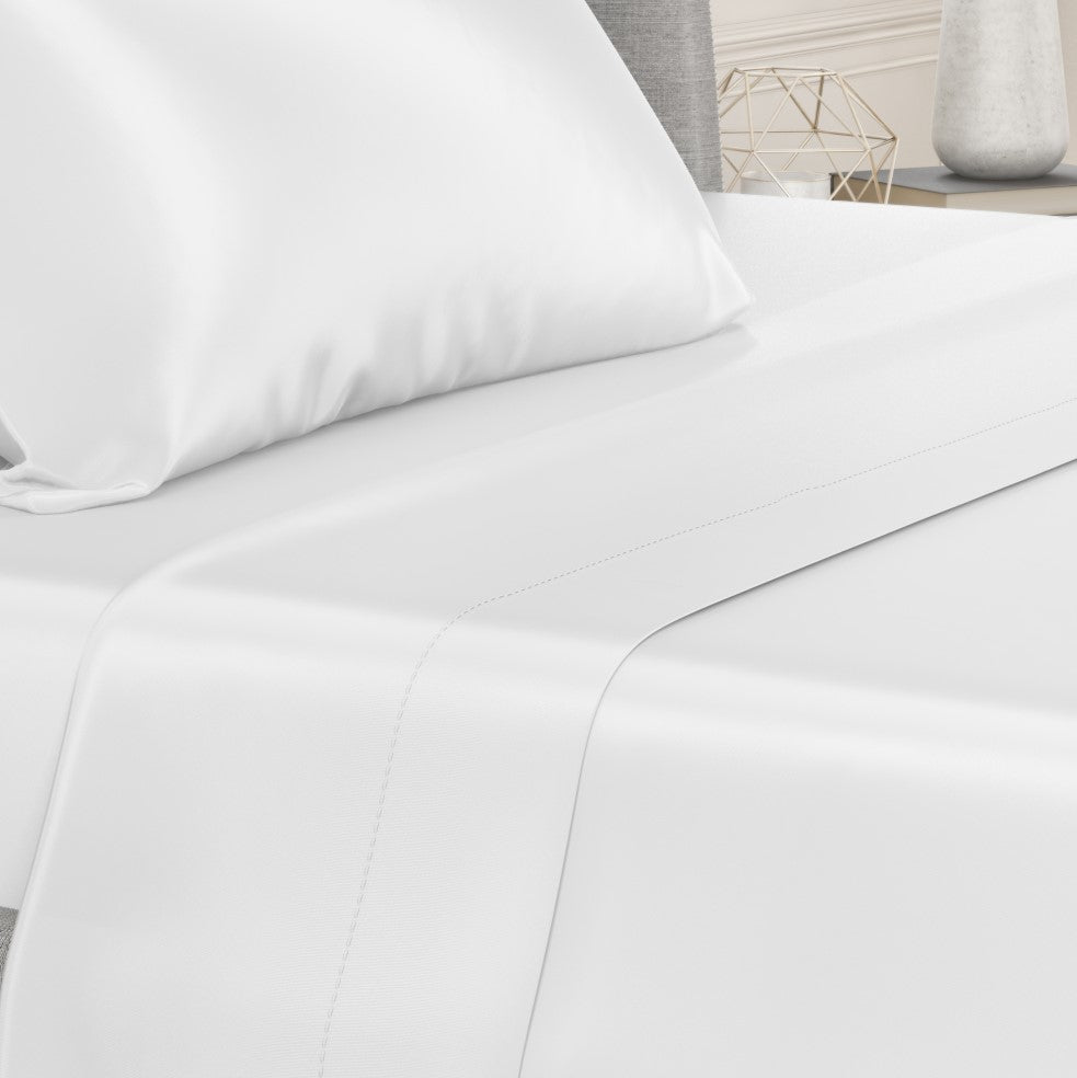 Bed with Silk 22 Momme Flat White Silk Sheets