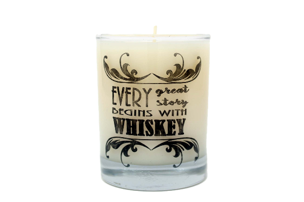 Every Great Story Begins With Whiskey Rocks Glass Candle
