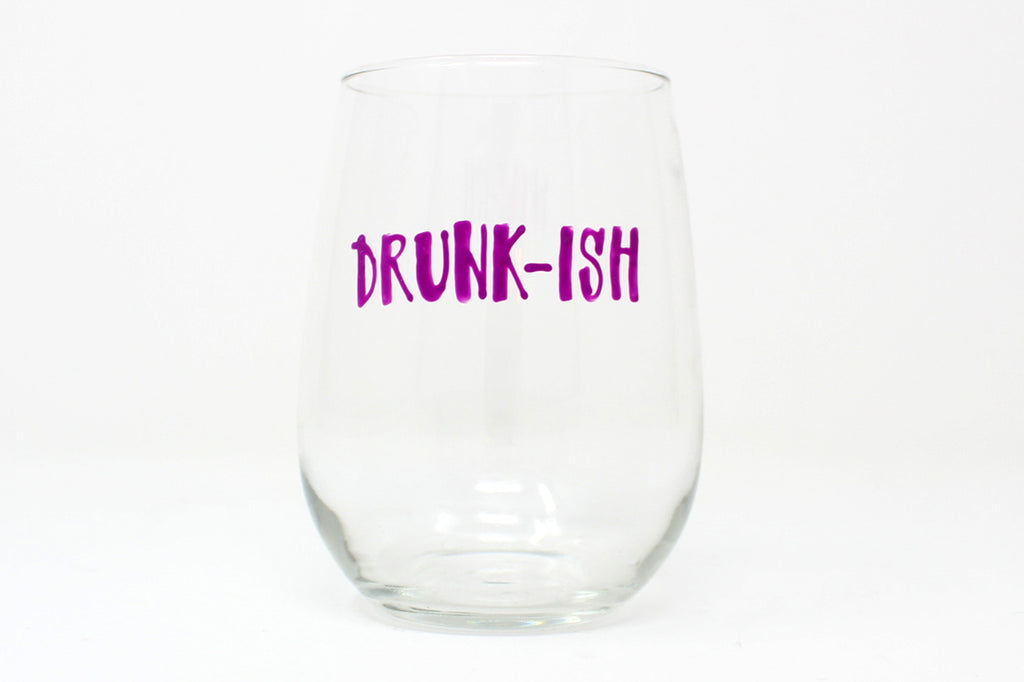 Hand-Painted Stemless Wine Glasses
