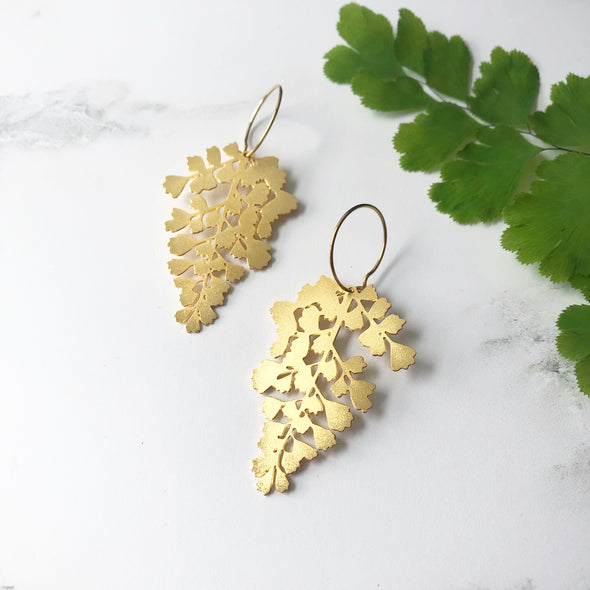 Gold Maidenhair Fern Hoop Earrings