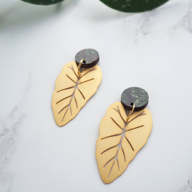 Statement Gold Alocasia Earrings