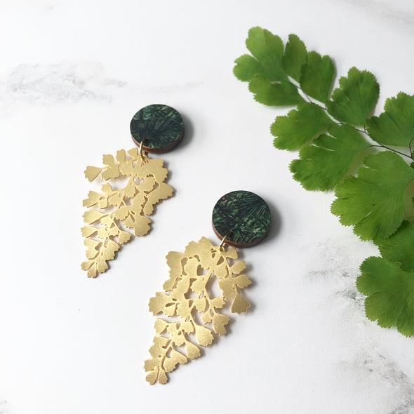 Gold Maidenhair Fern Drop Earrings